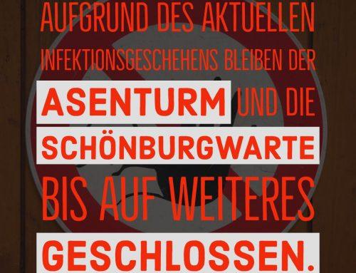 Asenturm und Kornbergturm bis auf Weiteres geschlossen